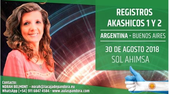 30 Agosto 2018 ( Buenos Aires, Argentina ) - RESERVA - Taller Registros Akashicos 1 y 2 - Sol Ahimsa