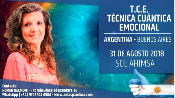 31 Agosto 2018 ( Buenos Aires, Argentina ) - RESERVA - Taller - T.C.E. Técnica Cuántica Emocional - Sol Ahimsa