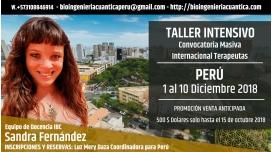 Del 1 al 10 Diciembre 2018 ( PERÚ ) - Convocatoria Masiva Internacional Terapeutas, con Sandra Fernández y el Equipo IBC