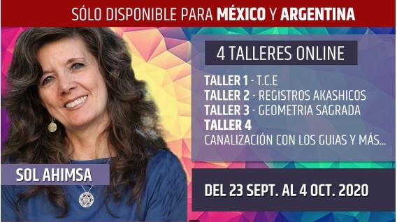 Del 23 Septiembre al 4 Octubre 2020 ( Online en Directo ) PACK COMPLETO 4 TALLERES - Sol Ahimsa
